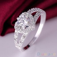 Atacado- Mulheres Chic Silver Plated Crystal Heart Shaped Love Wedding Ring Size 8 Bridal Jewelry AQND