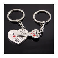 Wholesale Love New Photo Heart - 2017 New TOP Quality Couple Key Chain Cupid Arrow Love Gift Keychains Wedding Supplies Birthday Present Gift I LOVE YOU Heart Keychain DHL