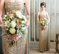 Wholesale Straight Strapless Wedding Dress - Hot 2017 Elegant Luxury Bling Sparkle Prom Dress Evening Gowns Straight Strapless Golden Sequins Lace Wedding Guest Bridesmaid Dresses Cheap