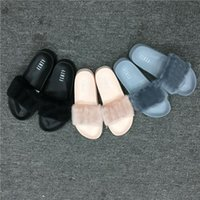Wholesale Men New Style Sandals - 2017 Wholesale New Style Leadcat Fenty Rihanna Shoes Men Women Slippers Indoor Sandals Girls Scuffs Cheap Fur Slides Free Shipping