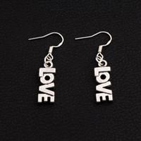 Wholesale Love Letters Earring - LOVE Letter Earrings 925 Silver Fish Ear Hook 50pairs lot Antique Silver Chandelier E921 7.8x38mm