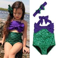 Wholesale 6t girl swimsuit online - Girls Swimsuit Fish Scale Bowknot One piece Suit Hairband Kids Bikini Dress High Quality Kids Costume LG CC00311