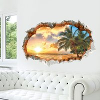Wholesale Window Beach Wall Sticker - New Arrivals Sunshine Beach 3D Window View Removable Wall Sticker Art Vinyl Decal Home Decor Mural