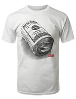 Wholesale Rolls Money - Hipster Hip Hop Roll of Money Graphic 2017 new High Quality 100% Cotton men's T Shirt cheap sell Free shipping