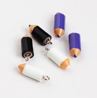 Wholesale enameled jewelry resale online - 30PCS Enameled pencil charm pendant x7 mm jewelry findings