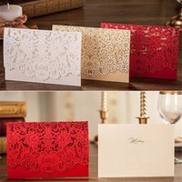 Wholesale Red Gold Invitations - 10pcs Gold Red White Laser Cut Luxury Flora Wedding Invitations Card Elegant Lace Favor Wedding Event & Party Supplies