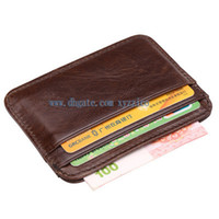 Wholesale Wholesalers For Small Businesses - 2017 new arrival vintage slim card holder small coin wallet purse genuine cowhide leather fit for jeans free shipping