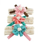 Wholesale toddler headbands big flowers - 3 Colors Fashion Infant Toddler Kids Girls Headband Big Petals Flower kid Hair Band Super Stretchy Hair Accessories A012-2