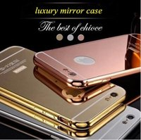 Wholesale aluminum metal bumper case - 2017 New Luxury Aluminum Ultra-thin Mirror Metal Bumper Case PC Cover for iPhone 7 6 6S Plus 5S Samsung Galaxy S7 S6 edge note 7