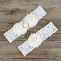 Wholesale Lingerie Cheap Garter Belts - Ivory Lace Wedding Garter Belt Cheap Sexy Blue Bridal Leg Garter Belts White Lingerie Rhinestone Stocking Garter Set For Womens Multi-color