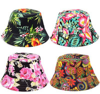 Wholesale Girls Flower Beanie - Children grid Bucket Hat Big Girls Casual Flower Sun Printed Basin Canvas Topee kids fisherman caps Baby Beanie Caps 27 Color
