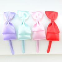 Wholesale Hoops For Clasp - free shipping 30pcs lot Mix Color Satin Covered Headband Hair Clasp with Ribbon BowKnot Popular Headear Head Hoop for Girl FG004