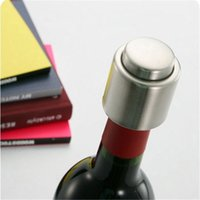 Wholesale Wine Bottle Stoppers Wedding - Stainless Steel Vacuum Sealed Push Stype Red Wine Bottle Stopper Wine Bottle Cap Wedding Supplies Favors DHL Free Shipping