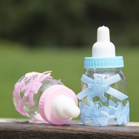 Wholesale Feeding Bears - New style baby's birthday candy box Transparent feeding-bottle shaped candy box Cute pink and blue bear decoration