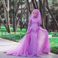 Wholesale Hijab Wedding Dresses Plus Size - Colorful Purple Lace Muslim Wedding Dresses 2017 Long Sleeve Bridal Dress Plus Size with Detachable Train Tulle Hijab Muslim Wedding Gowns