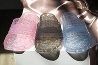 Wholesale Womens Jelly Flats Shoes - 2017 Summer Fenty Jelly Slippers Womens Crystal Slide Sandals Black White Pink Fenty By Rihanna Collection Shoes Wholesale Drop Shipping