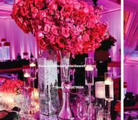 vasos para decorações de mesa de casamento venda por atacado-vasos de ferro por atacado da tabela do ferro mental da trombeta para a decoração Centerpieces do casamento