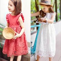 wachsende blumen großhandel-Sommer Kinder Mädchen Kleider Spitze Sommerkleid Ärmelloses Kleid Elegante Ball Grown Party Blumenmädchen Kinder Kleidung 100-150 cm