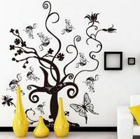 ingrosso alberi decorativi per pareti-Adesivi murali festa 3D Adesivi farfalla albero Decorazioni per la casa Poster decorativo per camerette Decorazione adesiva da parete rimovibile con magnete