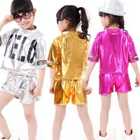 Wholesale Dancing Clothes Jazz - Girls Boys Sequined Hip Hop Performance outfits Girls Jazz Modern Danceware Costumes Kids dancing Suits clothes set Tops+Pants