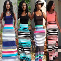 Wholesale wave caps wholesale - Women Wave Stripe Dresses Bohemian Maxi Dress Sexy Elegant Dress Round Collar Summer Dress Sleeveless Chevron Casual Dresses Vestidos