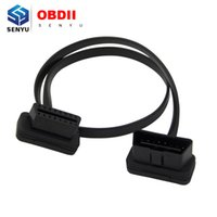 Wholesale Obd2 16 Pin Male - Wholesale- Flat Thin As Noodle OBD2 16Pin ELM327 Male To Female Elbow Extension Cable for Cars   Trucks OBD2 16 PIN