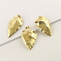 Wholesale Wholesale Arrowhead Charms - New 8Pcs Arrowhead Shape Full Gold Plated Fashion Druzy Necklace Pendant Charms Jewelry Finding