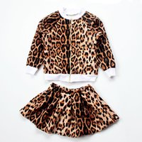 Wholesale Child Jacket Leopard - Everweekend Girls Leopard Outfits Jackets and Skirts 2pcs Sets Autumn Winter Children Clothing Christmas Clothes