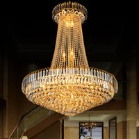 D100cm Modern Gold LED Crystal Plafonnier Salon Hall Hall Lampadaire