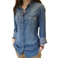Wholesale denim womens shirt - Womens Chambray Shirt Top denim Shirts and Blouses Long Sleeve Snap Button Cotton Ladies Shirt Camisa Blusa Camisetas Femininas