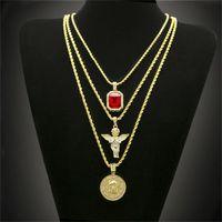 ingrosso pendenti caldi dei monili di jesus-Collana in oro placcato oro Hip Hop con cristalli di cristallo strass incastonati con collane con ciondoli angelo Gesù