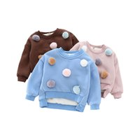 Wholesale 8years Girl - Wholesale- Baby Girls Sweatshirt 2016 Cotton Casual Children Thicken Warm Cute Hairball Pullover Kids Clothes 2-8Years Baby Outwear Coat