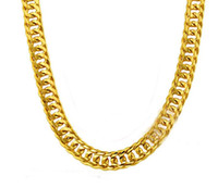 Wholesale Thick Mens Gold - 2017 FREE SHIPPING Heavy MENS 24K REAL SOLID GOLD FINISH THICK MIAMI CUBAN LINK NECKLACE CHAIN