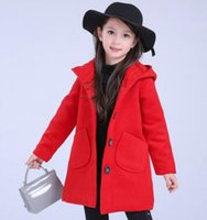 Wholesale Kids winter new girls wool coat thick coat in the long section of Korean children children Hooded Coat