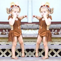 Wholesale Summer Photo Clothes Fashion - Infants baby girls tassels halterneck romper fashion Bohemian style baby clothes kids photo costume party props