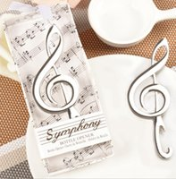 Wholesale Music Bottle Openers - Music Note Bottle Opener Symphony Chrome Beer Opener Wedding Shower Favors Bottle Opener Party Christmas Gift KKA2292