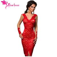 Wholesale Christmas Midi Dresses - Wholesale- Dear Lover Lace Party Dresses Autumn Red Applique Nude Illusion Women Long Sleeve Midi Dress Christmas Vestido de Renda LC61410