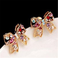 Wholesale Diamond Bow Fashion Earring - Diamond Bow Rhinestone Stud DHL Fashion New Earrings Wedding Jewelry Love Crystal Earring Cheap Women Earring Free Shipping