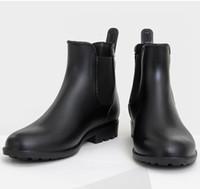 Nuovi uomini di moda banda elastica antiscivolo stivali da pioggia maschio  breve caviglia stivali da pioggia impermeabile scarpe da acqua Wellies TR200 439a470749d