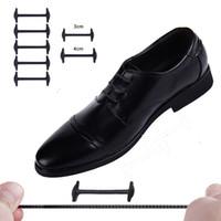 Wholesale 4cm Women Shoes - 10pcs Set 4cm or 3cm No Tie Shoelaces New Novelty Elastic Silicone Leather Shoe Laces For Men Women All Fit Strap Business Shoes