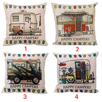 Wholesale Waterproof Throw - Wholesale- Home Stylish Happy Campers Waist Throw Pillow Case