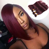 şarap kırmızı insan saçı atkısı toptan satış-Bob Saç Perulu Hint Malezya Brezilyalı Bakire Saç Demetleri Ile Kapatma Düz Kırmızı Şarap Bordo 99J Düz İnsan Saç Dokuma Atkı