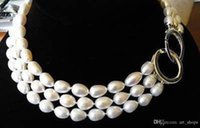 Wholesale Rice Plants - 3 ROWS 8-9MM rice freshwater cultured pearl NECKLACE 17-19 INCH