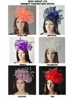 Big Sinamay fascinator hat Feather fascinator pour Melbourne Cup, Ascot Races, kentucky derby wedding.coral, hot pink, bleu marine et crème