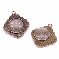 Wholesale Square Glass Cabochon Wholesale - Sweet Bell Antique Bronze square Metal Alloy 20 mm Round Cameo Cabochon Settings + Clear Glass Cabochons D0068