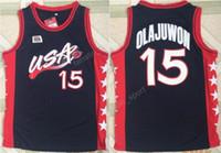 Wholesale Atlanta Olympics - Atlanta 1996 USA Hakeem Olajuwon Jersey 15 Olympic Games Team Dream American Olajuwon Basketball Jerseys Sports Color Navy Blue