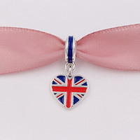 Wholesale Wholesale Beads For Jewelry Making - 925 Silver Beads Great Britain Heart Flag Pendant Charm Fits European Pandora Style Bracelets Necklace for jewelry making 791512ENMX