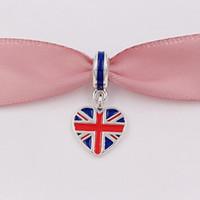 Wholesale pandora rhodium plated bracelet for sale - 925 Silver Beads Great Britain Heart Flag Pendant Charm Fits European Pandora Style Bracelets Necklace for jewelry making ENMX
