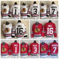 Wholesale Pierre Pilote - Throwback Chicago Blackhawks Hockey Jerseys 3 Pierre Pilote 1 Glenn Hall 7 Phil Esposito 16 Brett Hull Vintage Winter Classic Hockey Jersey