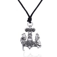 Wholesale Odin Pendant - Zinc Alloy Odin Viking Raven Wolf Crow Thor's Hammer Mjolnir raven and wolf charms Knots Norse rope Chain man Amulet Pendant Necklace